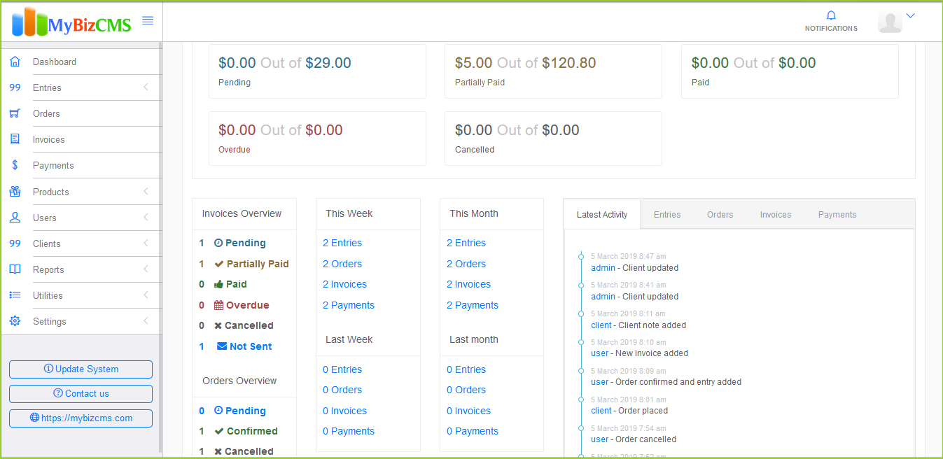 MyBizCMS : Sales Entries CRM with User roles, Inventory control, Invoices and Payments - 1
