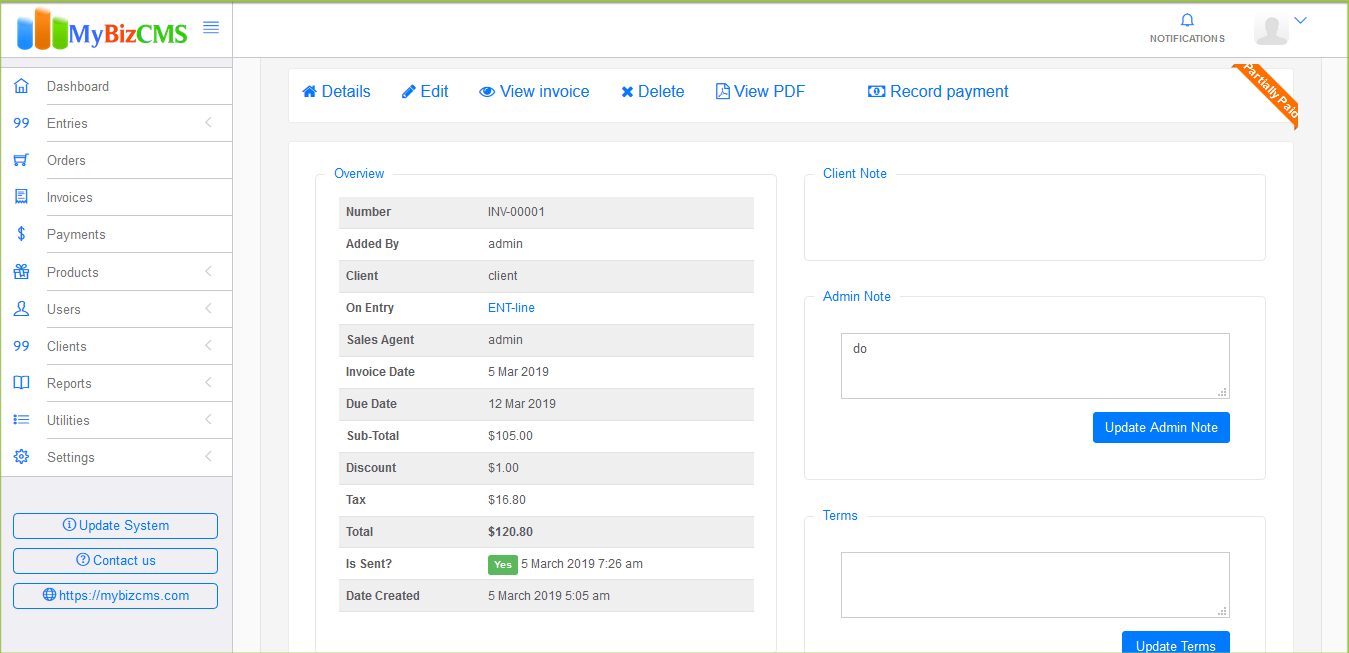 MyBizCMS : Sales Entries CRM with User roles, Inventory control, Invoices and Payments - 8
