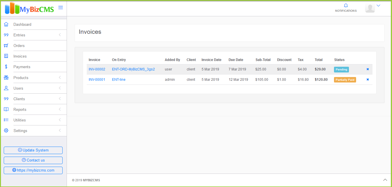MyBizCMS : Sales Entries CRM with User roles, Inventory control, Invoices and Payments - 7