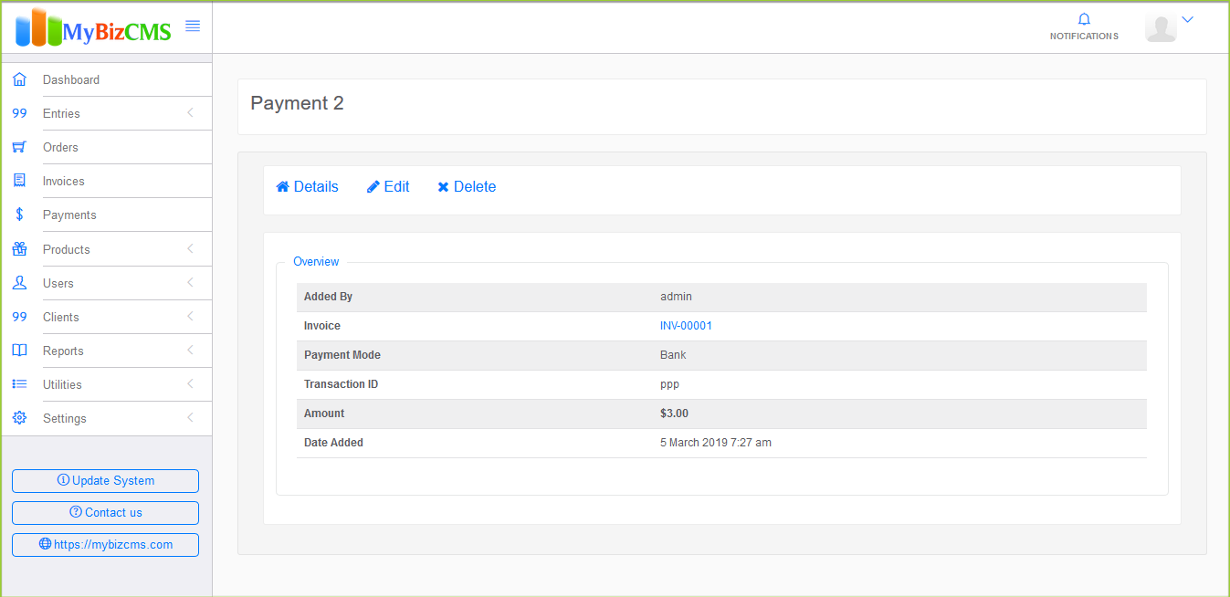 MyBizCMS : Sales Entries CRM with User roles, Inventory control, Invoices and Payments - 10
