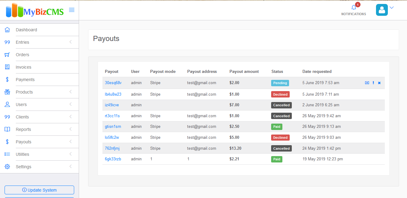 MyBizCMS : Sales Entries CRM with User roles, Inventory control, Invoices and Payments - 18