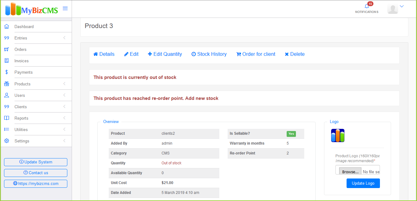 MyBizCMS : Sales Entries CRM with User roles, Inventory control, Invoices and Payments - 3